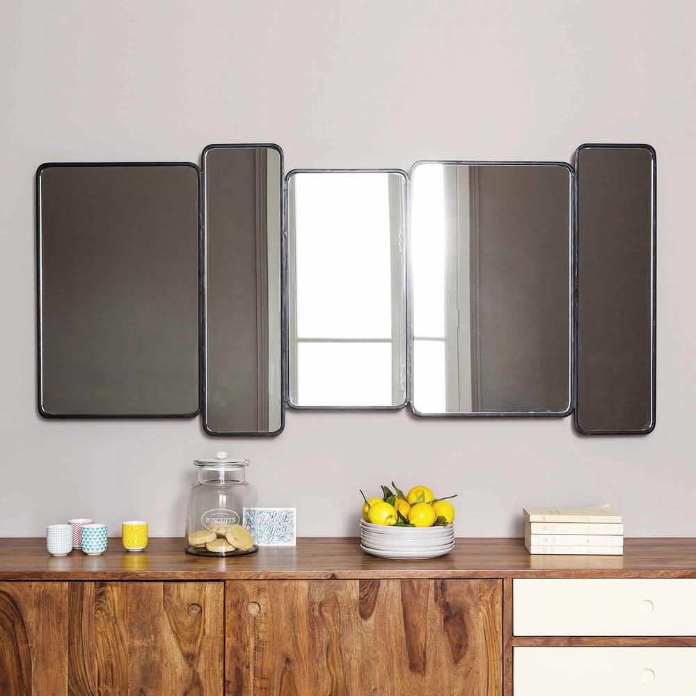 Miroir En Metal Noir H 71 Cm Telford Maisons Du Monde