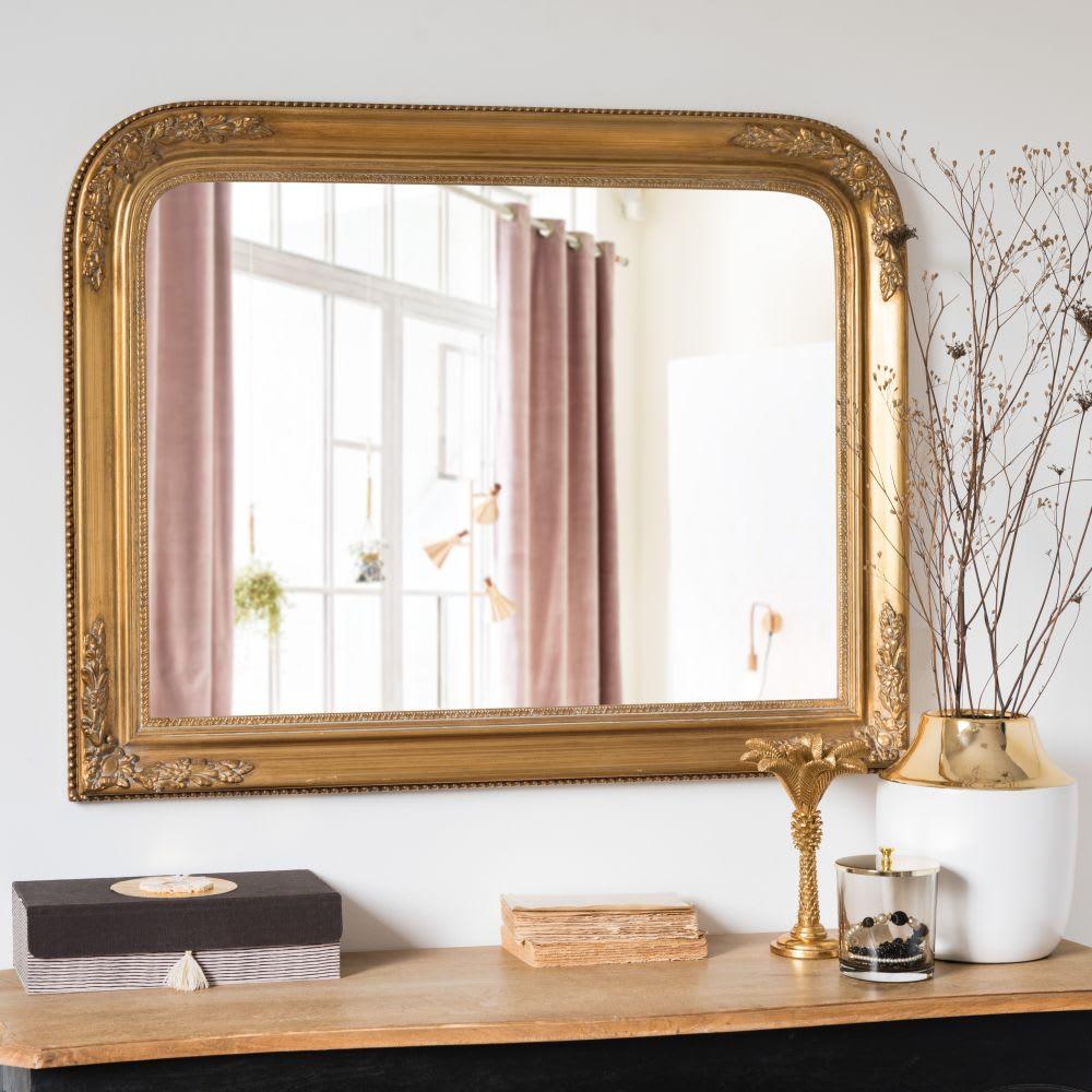 miroir en paulownia dor mat 90x70 augustine maisons du. Black Bedroom Furniture Sets. Home Design Ideas