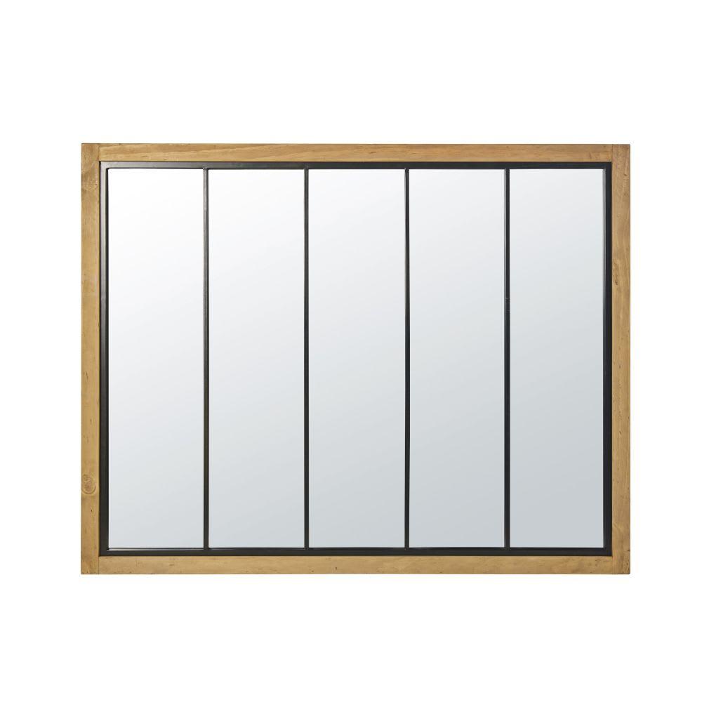 miroir en pin et m tal noir 120x95 ralph maisons du monde. Black Bedroom Furniture Sets. Home Design Ideas