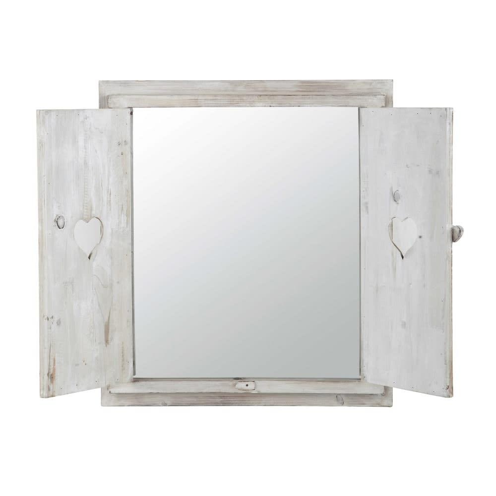Miroir Fenêtre Avec Cœurs Blanchi 63x71 Lucy Maisons Du Monde