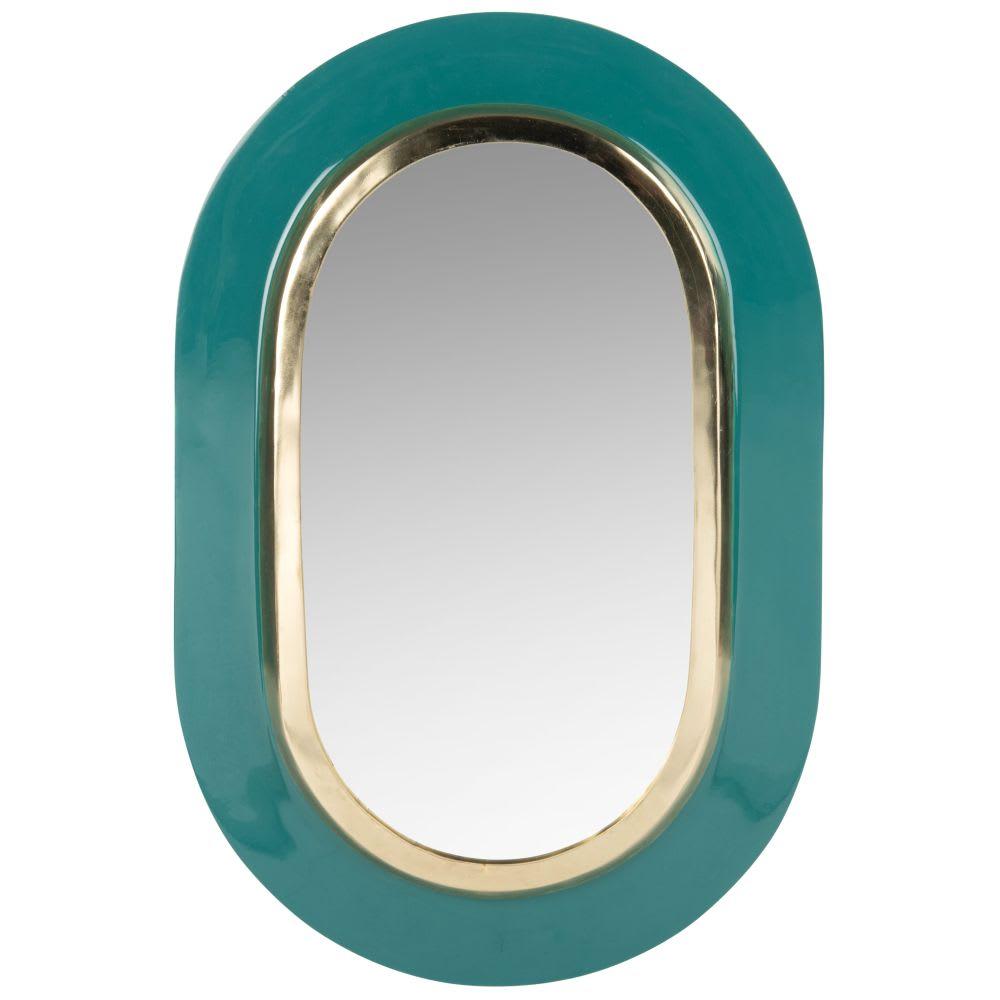 Miroir ovale en m tal vert et dor 30x45 larissa maisons du monde - Miroir ovale sur pied ...