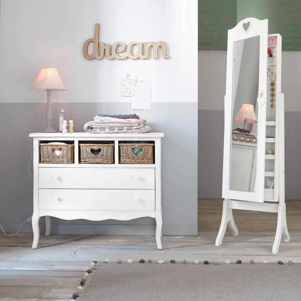 Miroir psyché avec rangement blanc 42x160 Valentine | Maisons du Monde