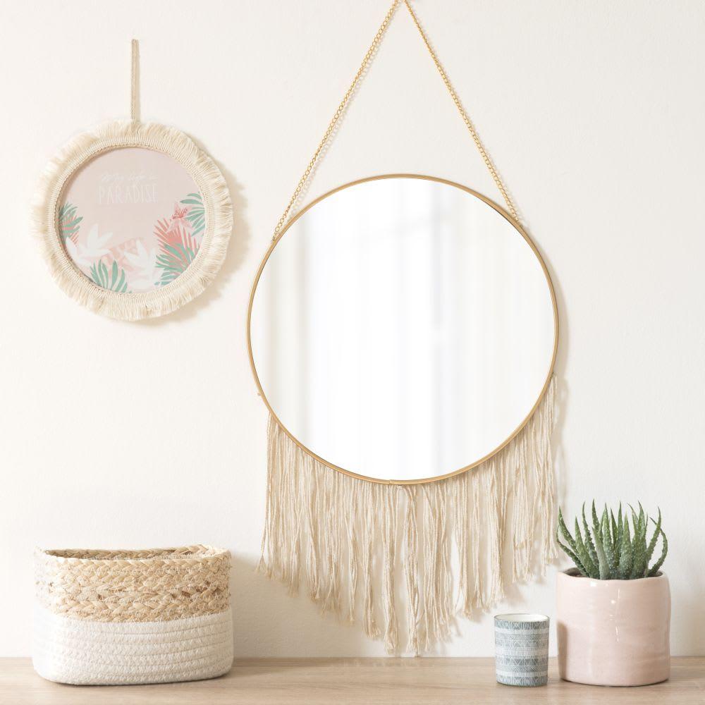 miroir rond franges suspendre en m tal dor d31 enora. Black Bedroom Furniture Sets. Home Design Ideas