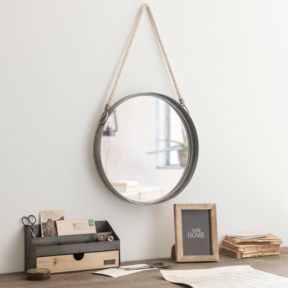 miroir rond suspendre en m tal avec corde d40 belmont. Black Bedroom Furniture Sets. Home Design Ideas