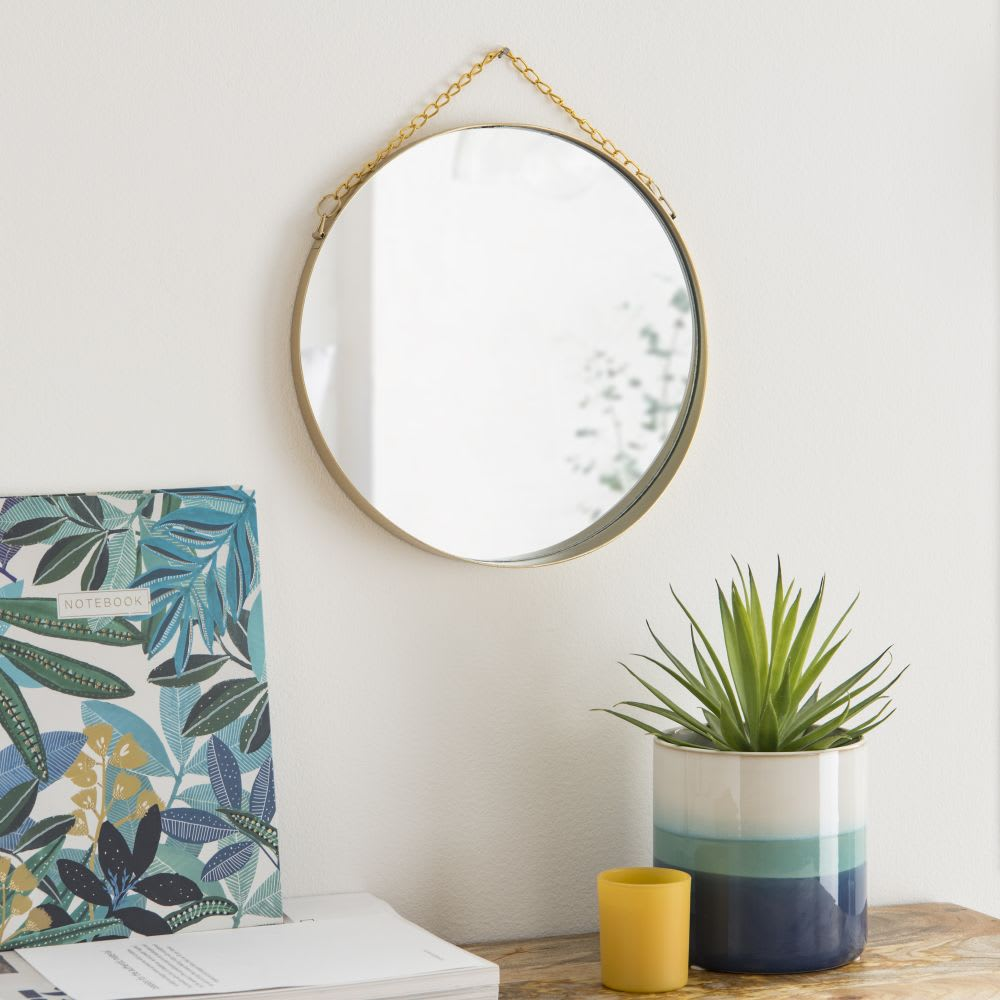 miroir rond suspendre en m tal dor d26 kirsten. Black Bedroom Furniture Sets. Home Design Ideas