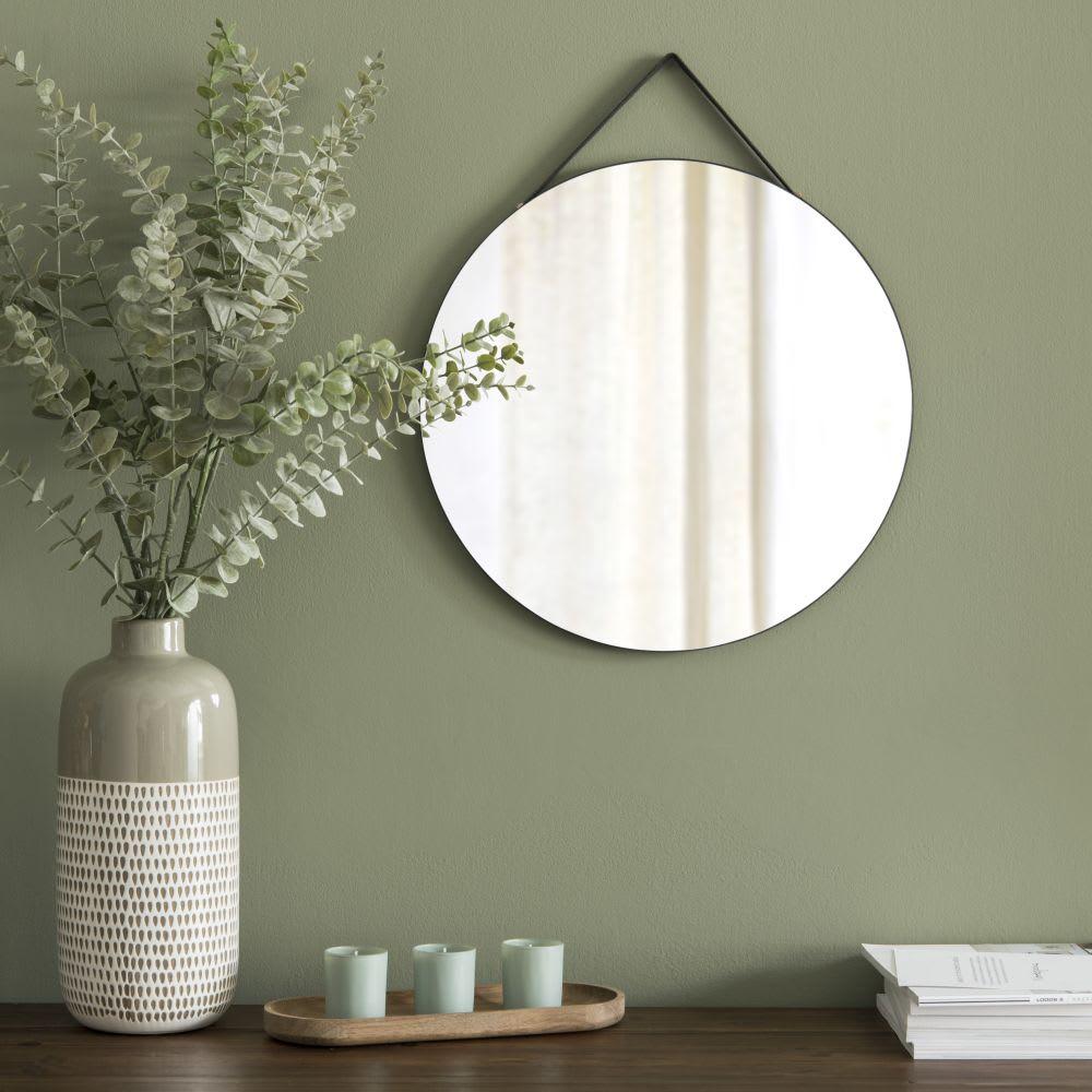 miroir rond suspendre noir d33 devan maisons du monde. Black Bedroom Furniture Sets. Home Design Ideas