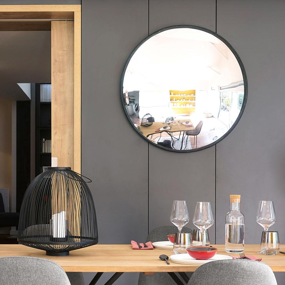 miroir rond convexe en m tal noir d94 limbourg maisons. Black Bedroom Furniture Sets. Home Design Ideas