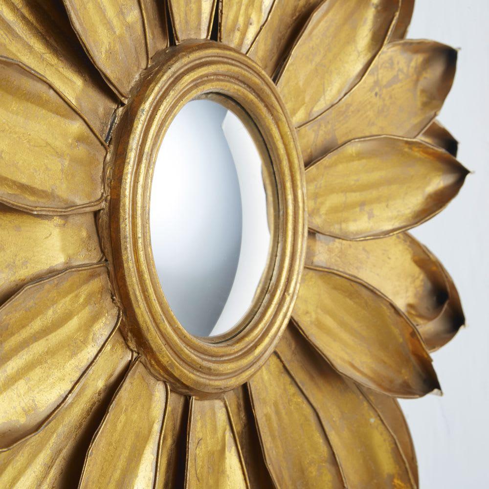 miroir rond convexe feuilles de m tal dor d86 monika. Black Bedroom Furniture Sets. Home Design Ideas