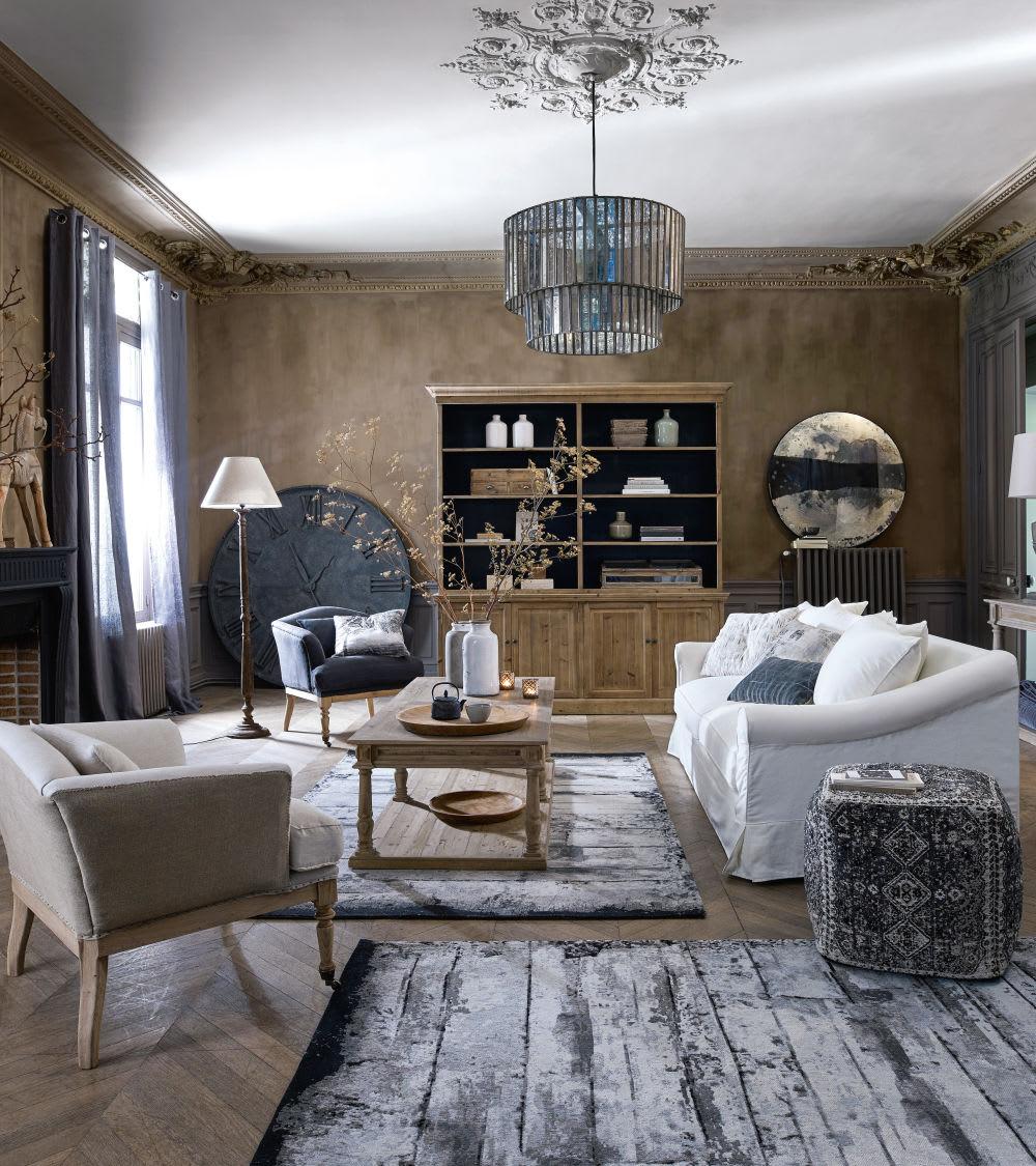 miroir rond effet vieilli et m tal noir d108 wabi sabi. Black Bedroom Furniture Sets. Home Design Ideas