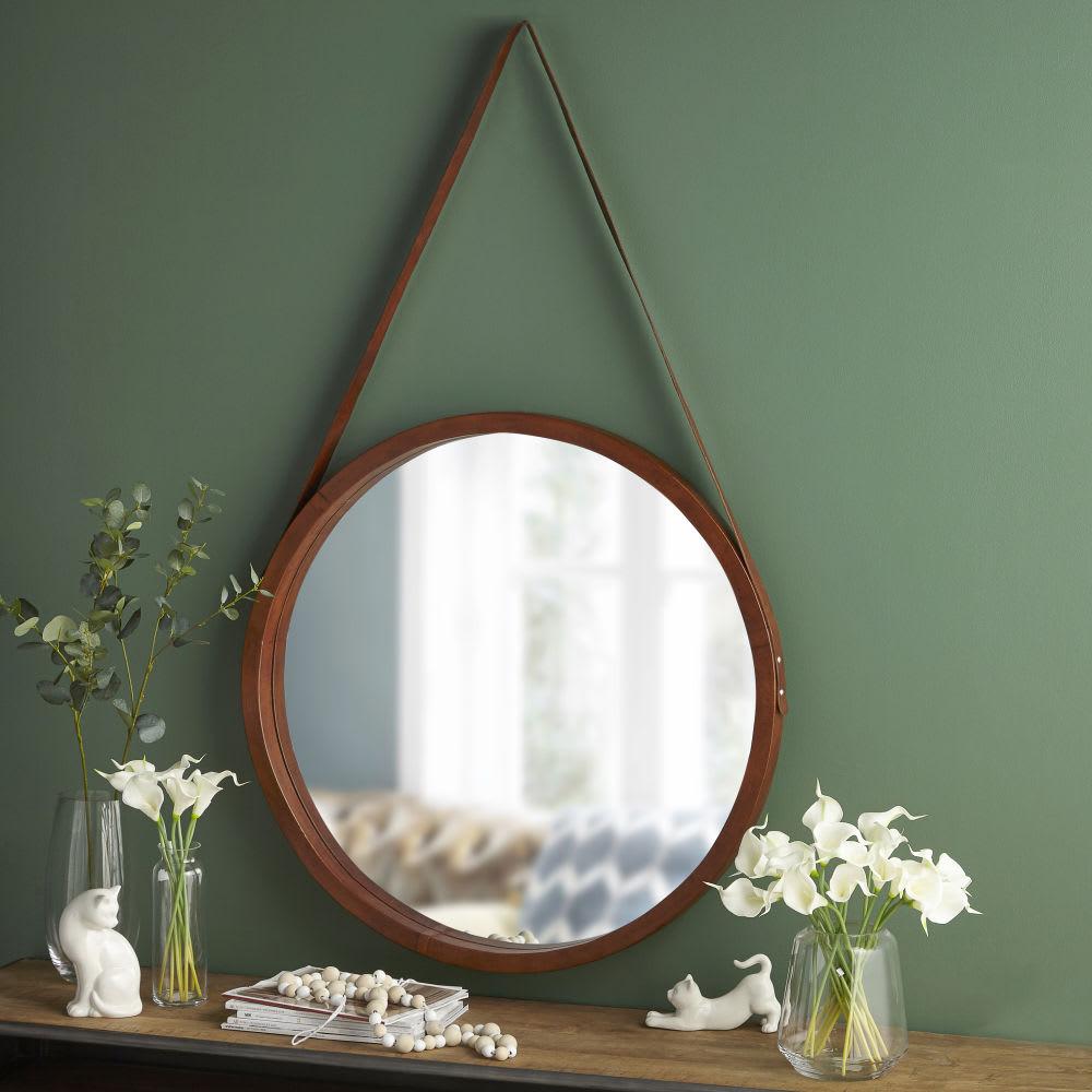 miroir rond en cuir d80 john maisons du monde. Black Bedroom Furniture Sets. Home Design Ideas