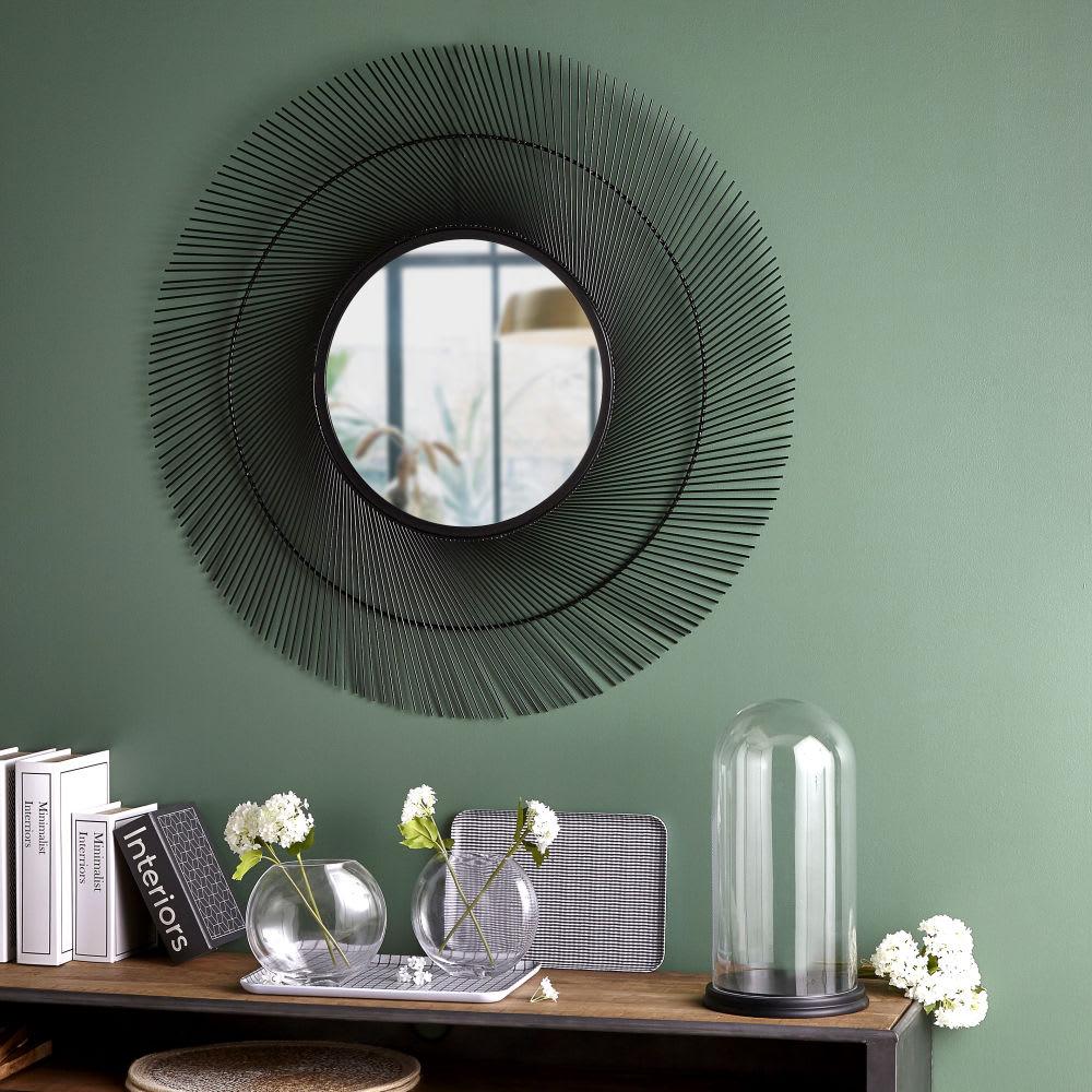 Miroir rond en fil de m tal noir 100x99 vasiliy maisons du monde for Miroir rond metal noir