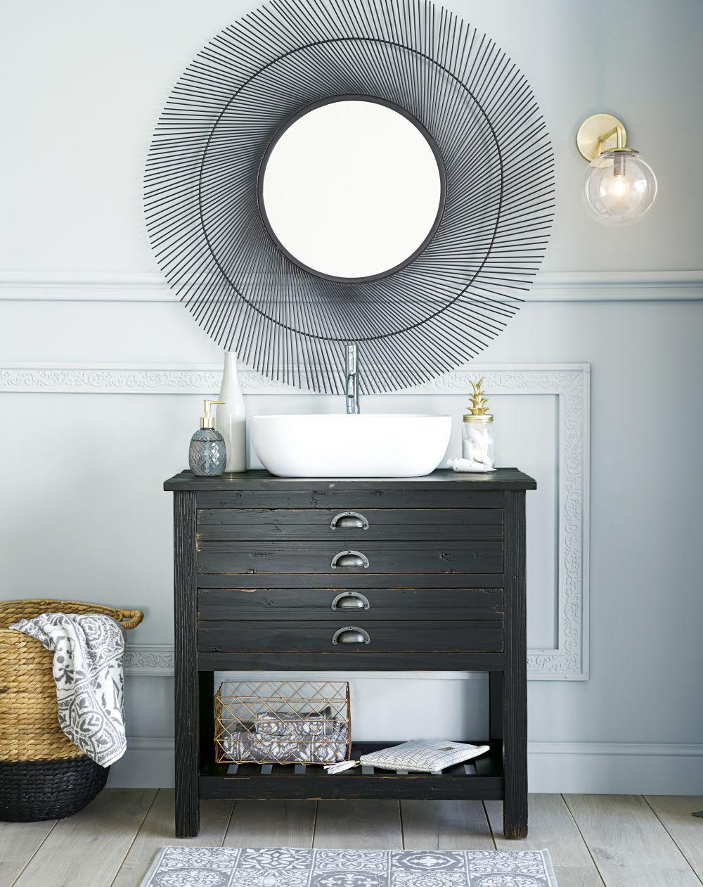 miroir rond en fils de m tal noir 100x99 vasiliy maisons. Black Bedroom Furniture Sets. Home Design Ideas