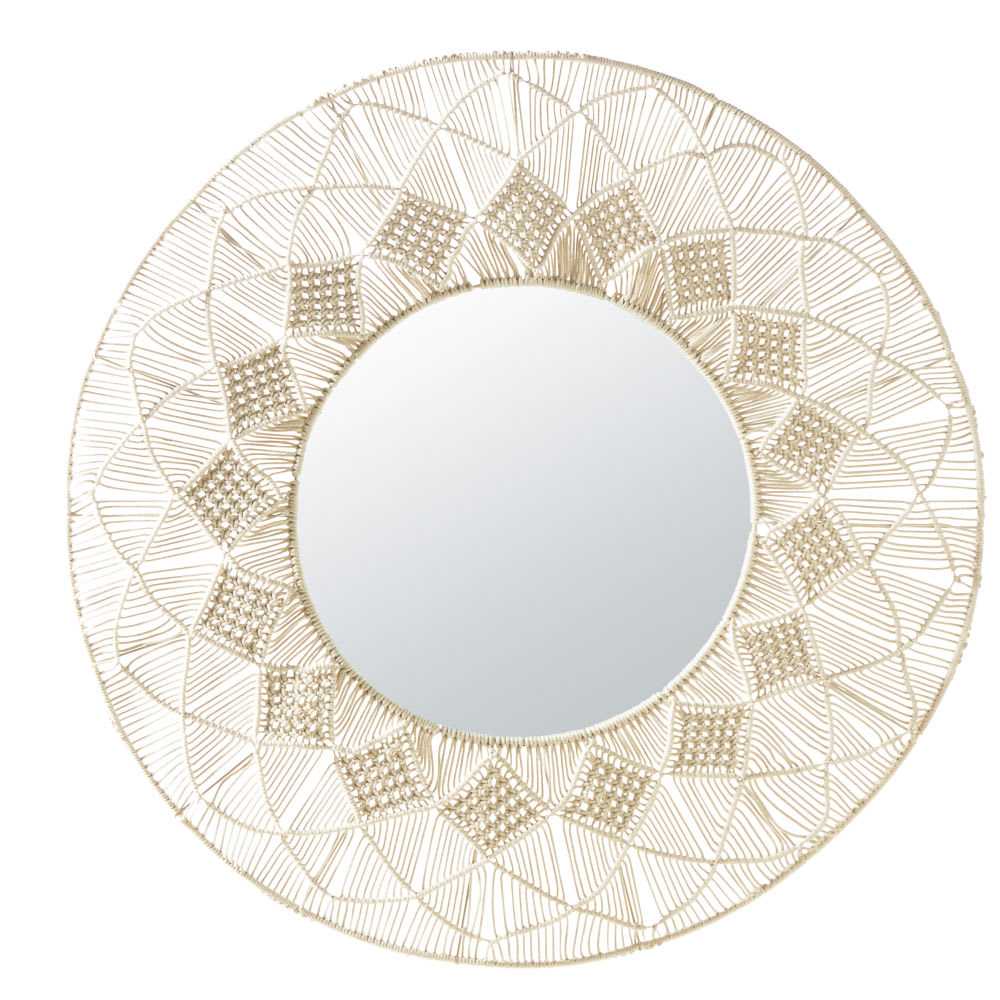 miroir rond en macram blanc d92 verkala maisons du monde. Black Bedroom Furniture Sets. Home Design Ideas