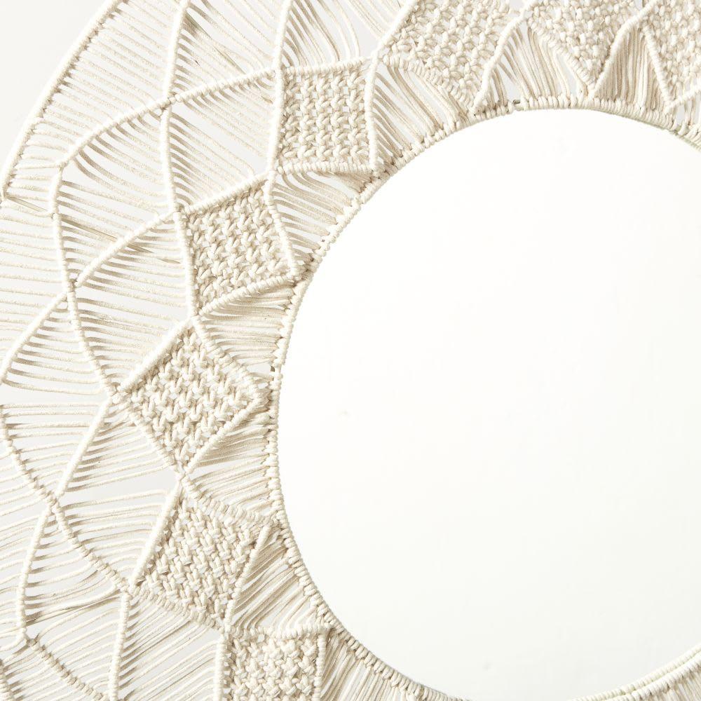 Miroir Rond En Macrame Blanc D92 Verkala Maisons Du Monde