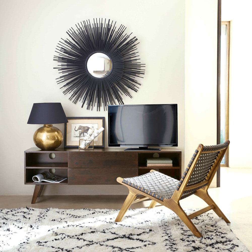 miroir rond en m tal noir massala maisons du monde. Black Bedroom Furniture Sets. Home Design Ideas