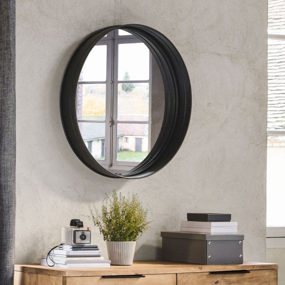 miroir rond en m tal noir d120 walter maisons du monde. Black Bedroom Furniture Sets. Home Design Ideas