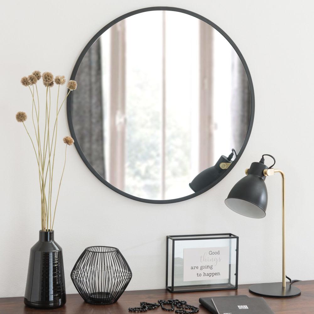 miroir rond en m tal noir d60 flick maisons du monde. Black Bedroom Furniture Sets. Home Design Ideas