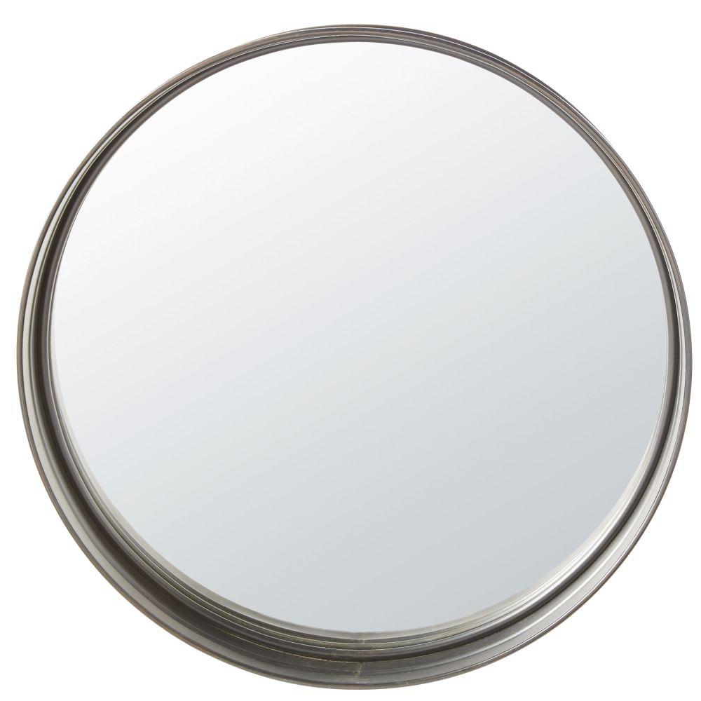 Miroir rond en m tal noir d80 denver maisons du monde for Miroir rond metal noir
