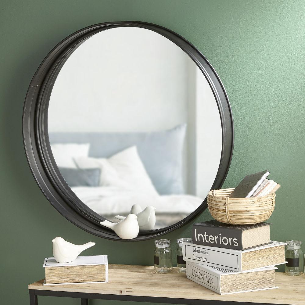 miroir rond en m tal noir d80 denver maisons du monde. Black Bedroom Furniture Sets. Home Design Ideas