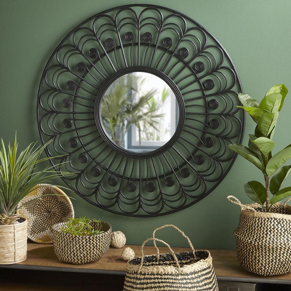Miroir rond en rotin noir d100 olivia maisons du monde - Miroir en rotin ...