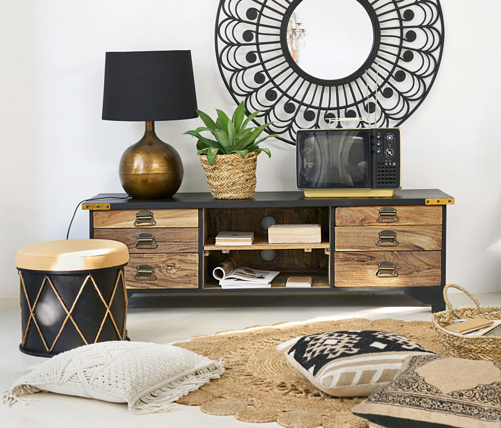 miroir rond en rotin noir d100 olivia maisons du monde. Black Bedroom Furniture Sets. Home Design Ideas