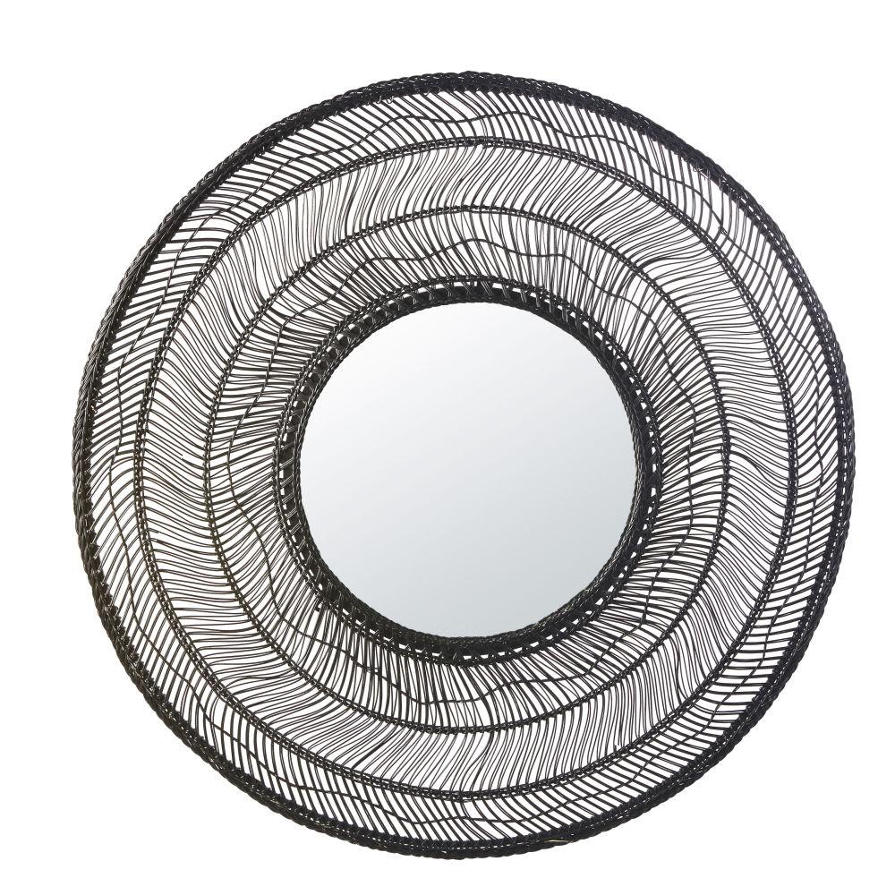 Miroir rond en rotin tress noir d102 palmista maisons du monde - Miroir en rotin ...