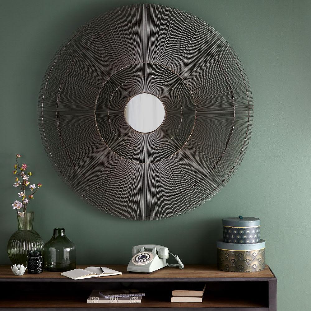 miroir rond filaire en m tal noir d113 mingali maisons. Black Bedroom Furniture Sets. Home Design Ideas