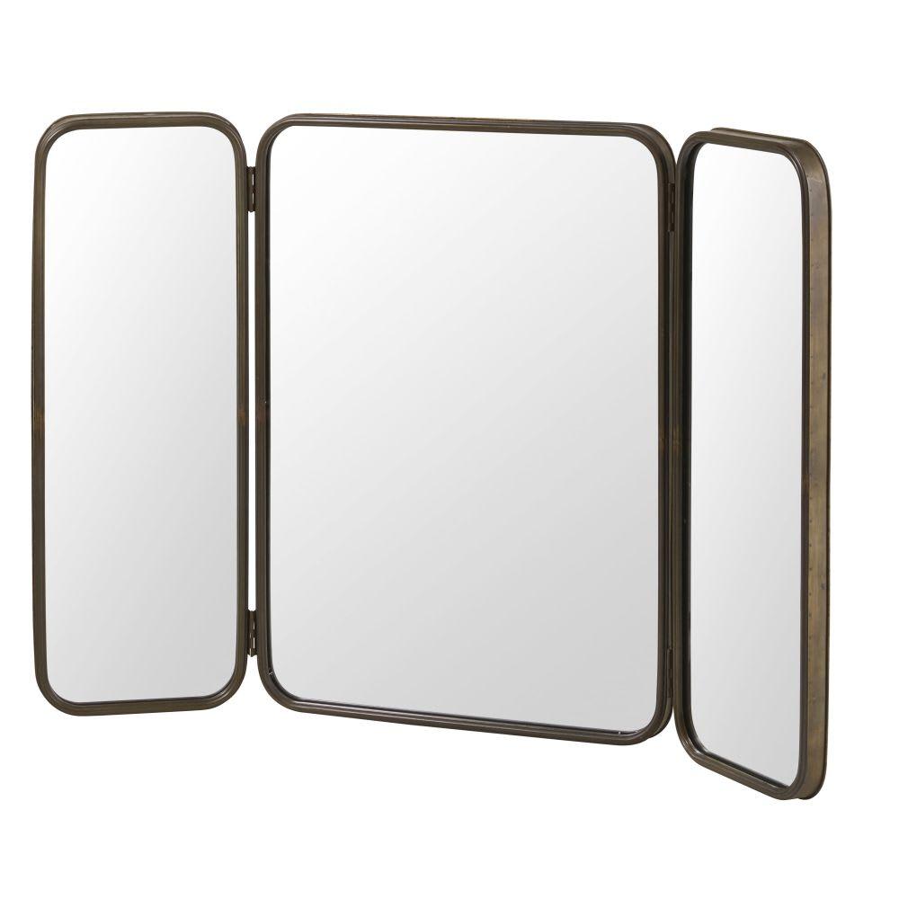 Miroir triptyque en métal noir 114x81 Taylor | Maisons du Monde