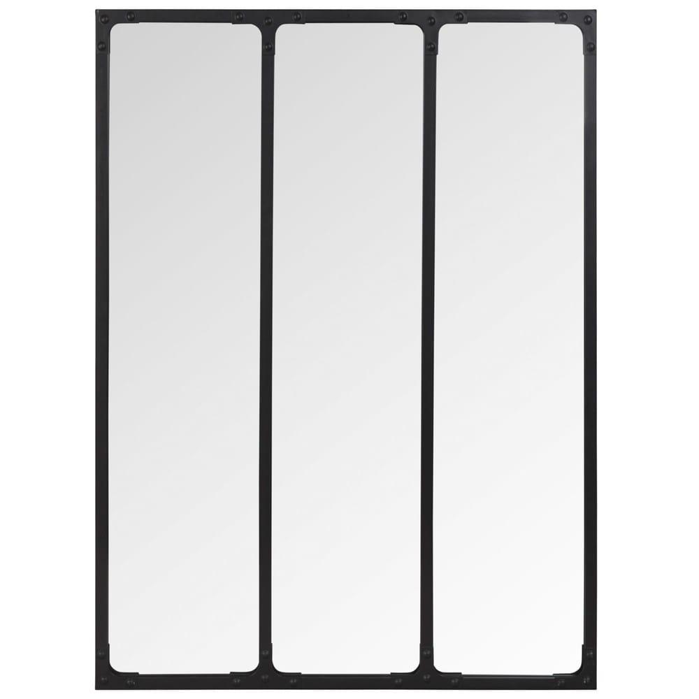 Miroir triptyque en m tal noir 60x80 bagel maisons du monde for Miroir 60x80