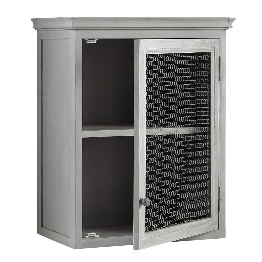 mobile alto da cucina grigio in acacia con apertura a