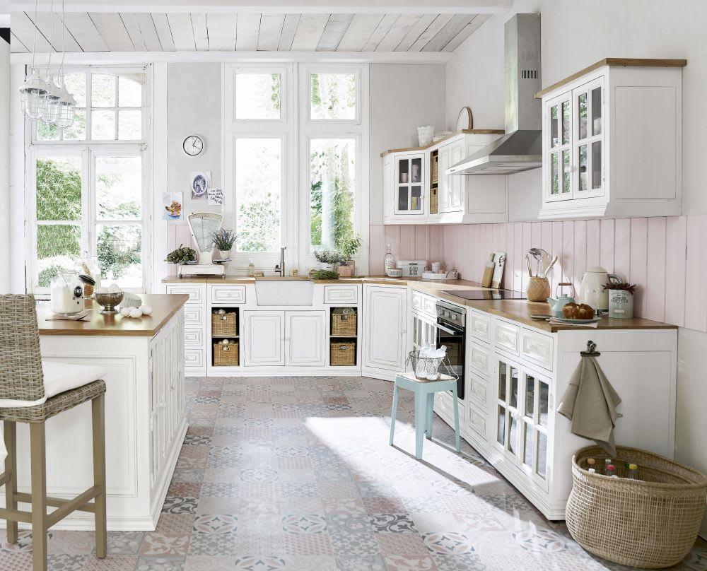 Mobile alto vetrato color avorio ad angolo da cucina in mango L 92 ...
