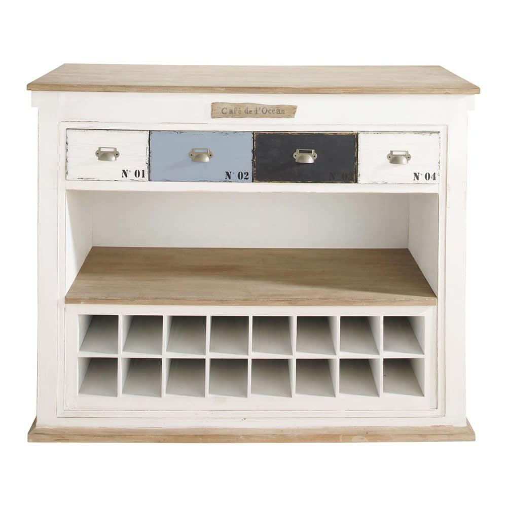 Mobile bar bianco in legno effetto anticato con cassetti l for Mobili legno bianco anticato