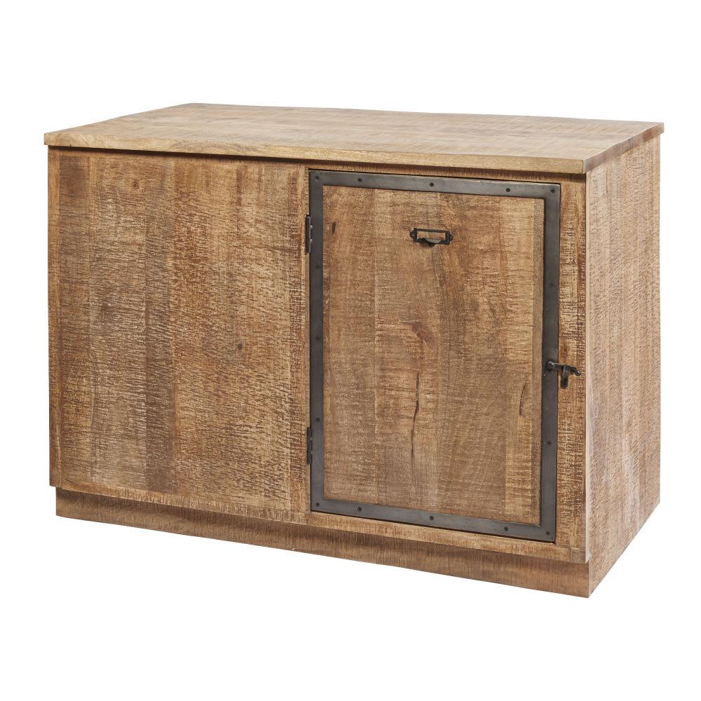 Mobile basso ad angolo da cucina a 1 anta in legno massello di mango ...