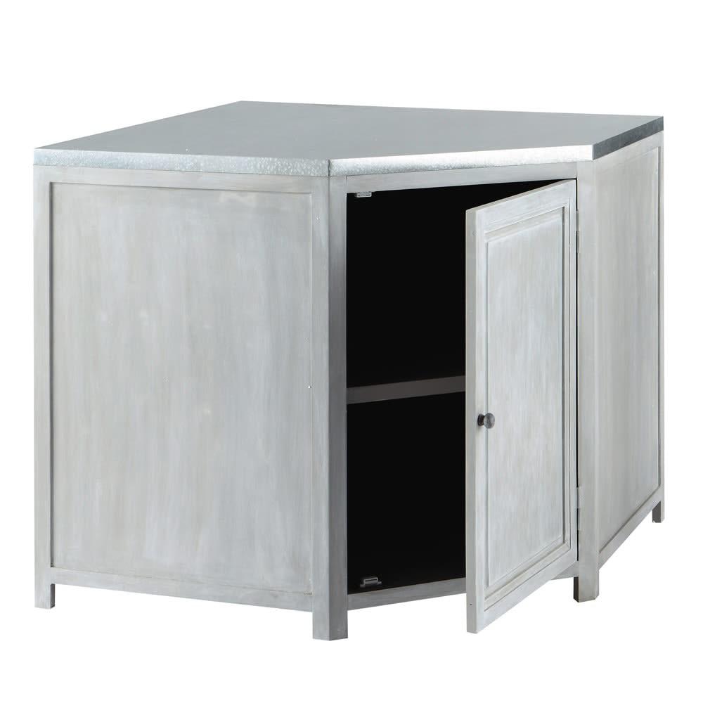 Mobile basso ad angolo da cucina grigio in acacia L 99 cm Zinc ...