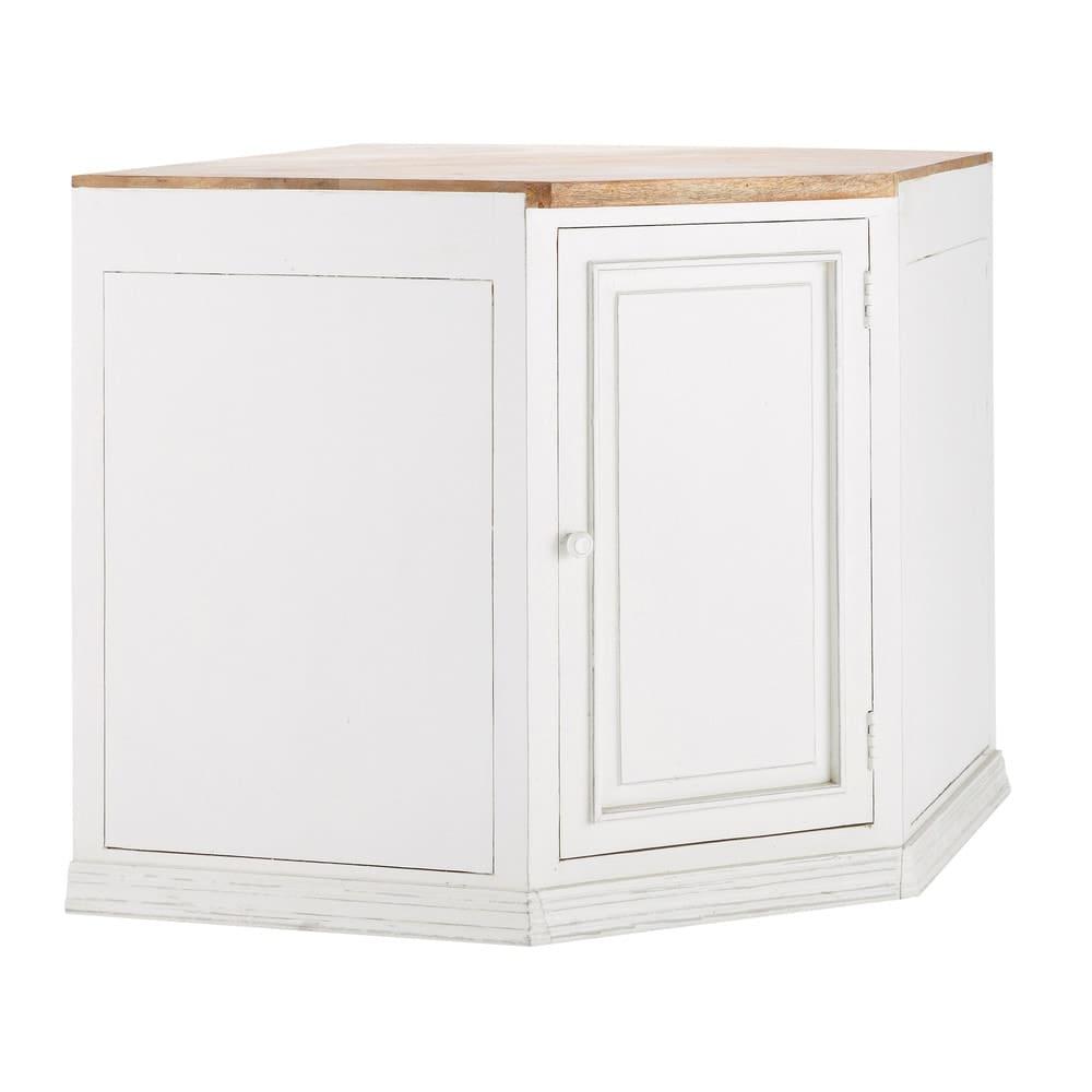 Mobile basso avorio ad angolo da cucina in mango 133 cm for Mobile basso angolare