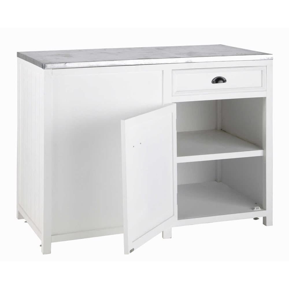 Mobile basso bianco da cucina in legno 120 cm newport for Mobile basso da sala