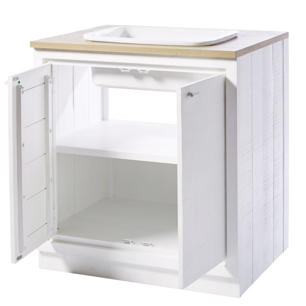 Mobile basso da cucina con lavello a 2 ante bianco Embrun | Maisons ...