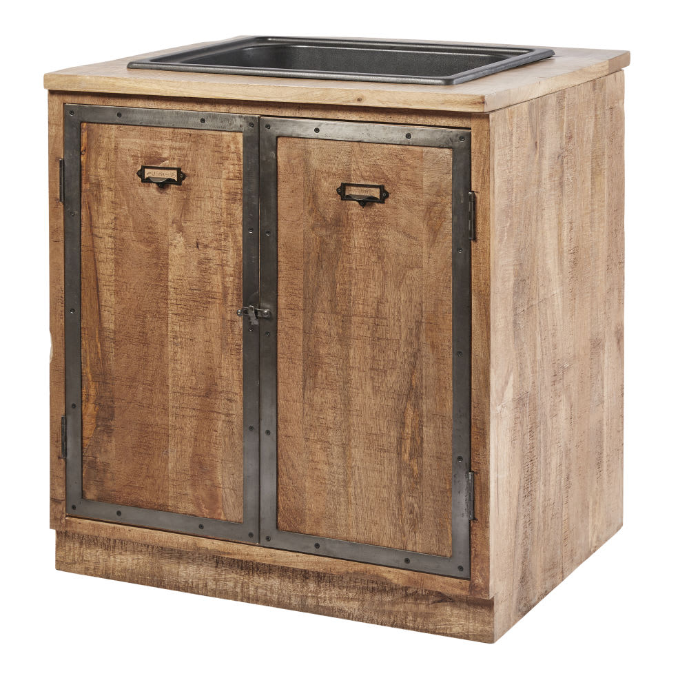 Mobile basso da cucina con lavello a 2 ante in legno massello di ...