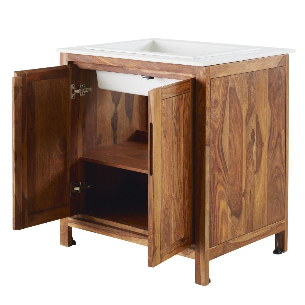 Mobile basso da cucina con lavello in legno massello di sheesham e ...