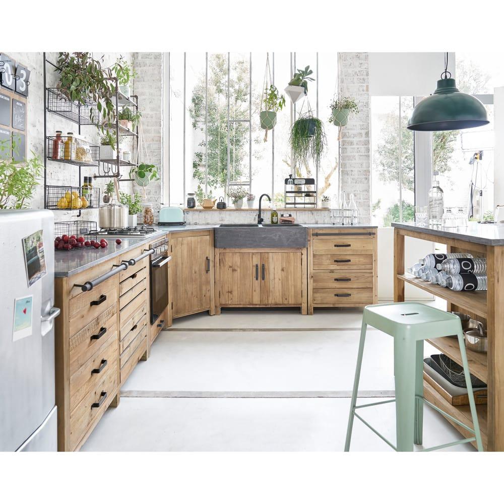Mobile basso da cucina in pino riciclato per forno 70 cm for Mobile basso da sala