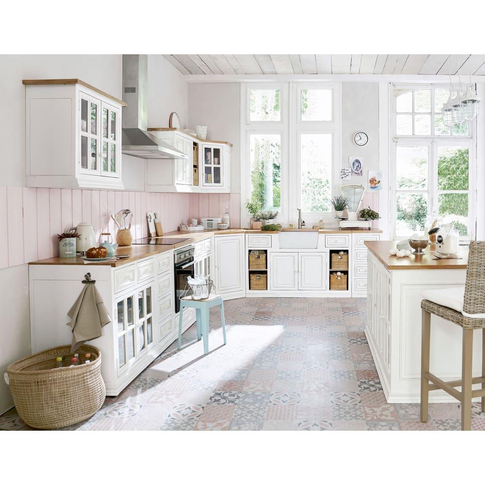 Mobile basso vetrato avorio da cucina in mango eleonore for Mobile basso da sala