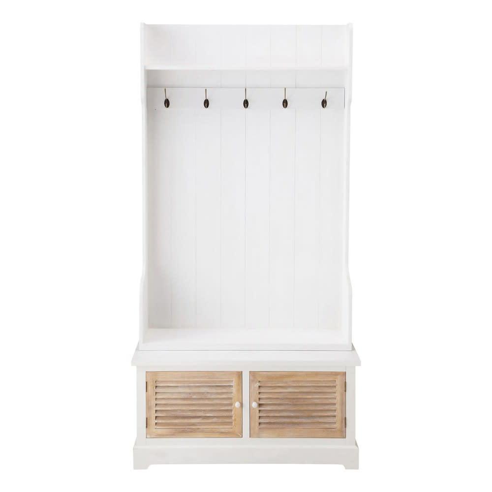 Attaccapanni Mobile.Mobile Bianco Da Ingresso In Legno Con 5 Attaccapanni L 96 Cm