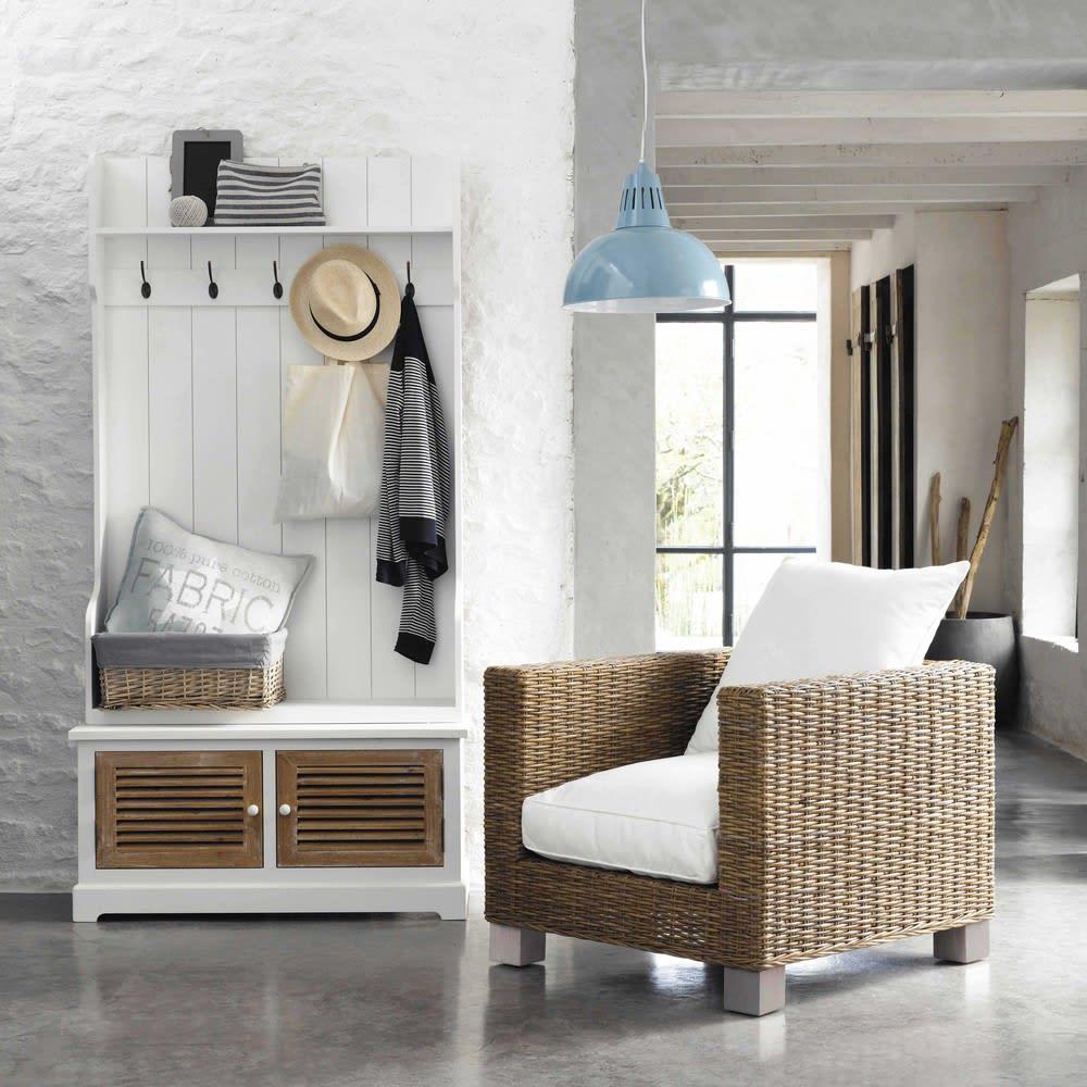 Come Arredare E Organizzare L Ingresso 14 Idee E: Mobile Bianco Da Ingresso In Legno Con 5 Attaccapanni L 96