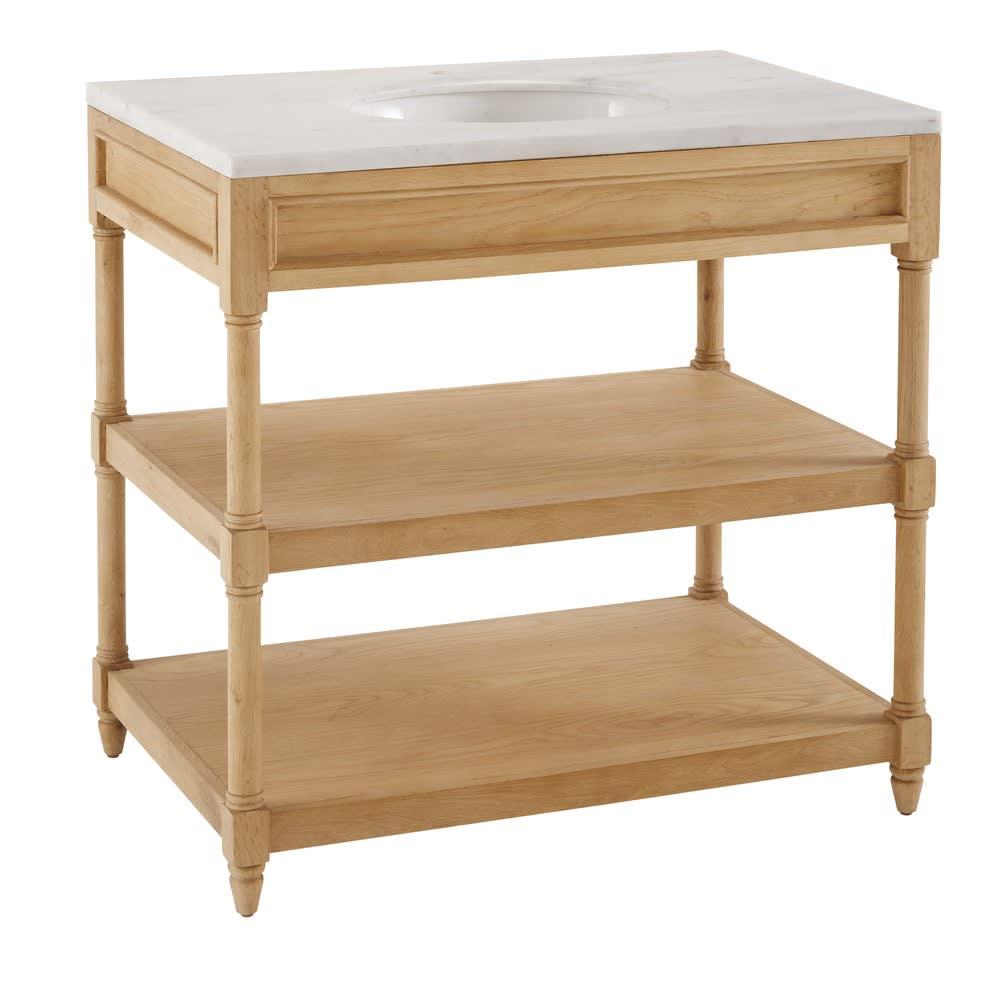Mobile con lavandino in legno massello di quercia e marmo bianco ...