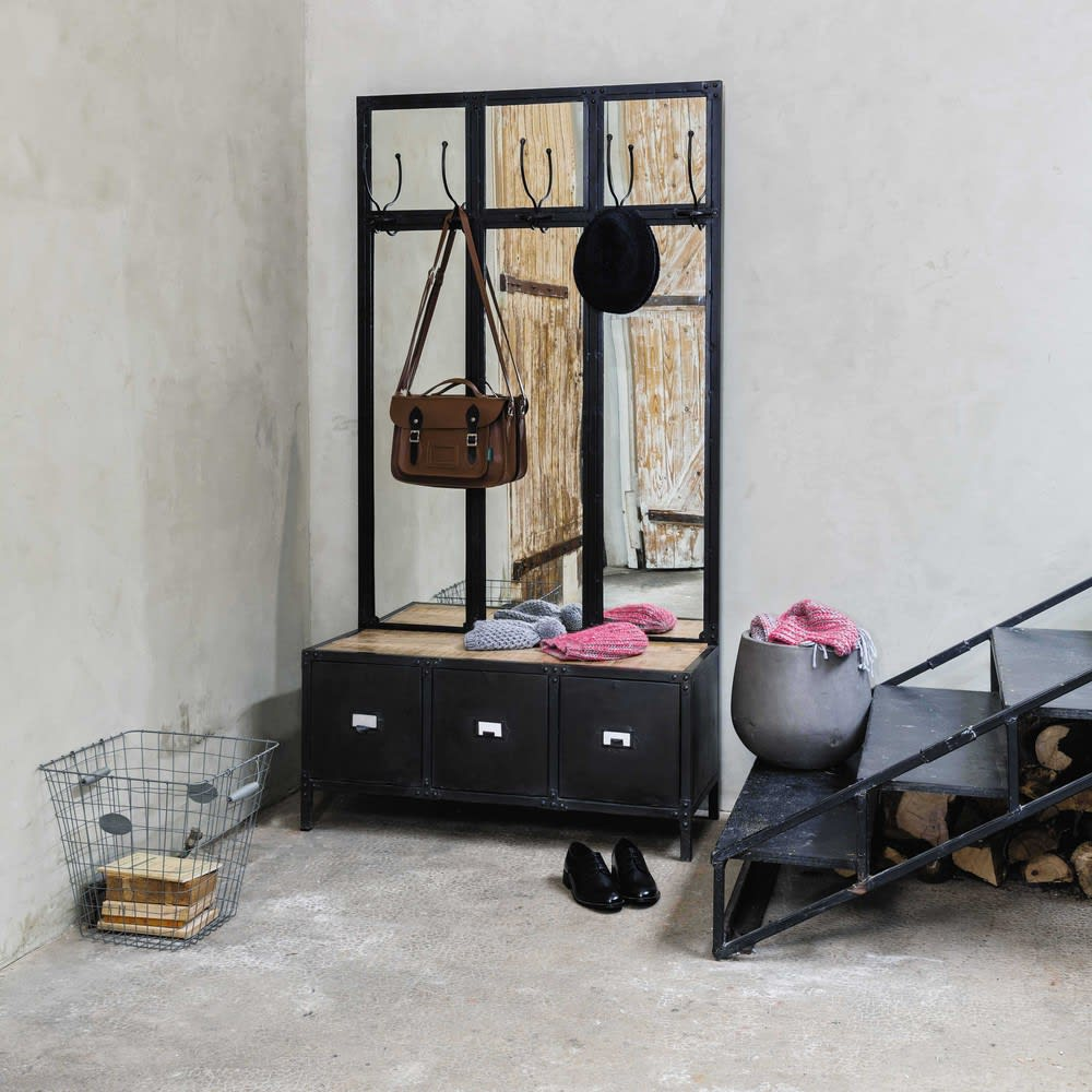 Mobile d\'entrata con specchio in metallo nero Scott | Maisons du Monde