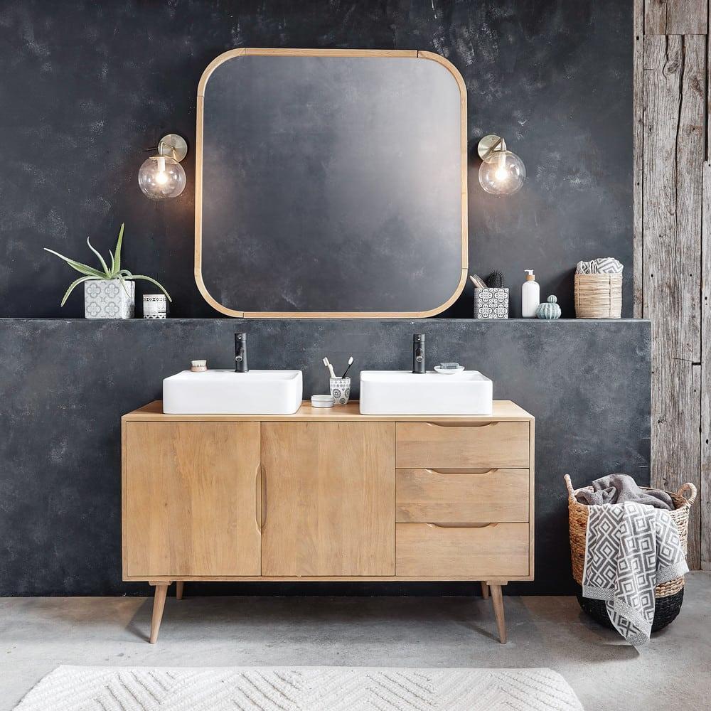 Mobile da bagno a 2 lavabo in legno massello di mango Trocadero ...