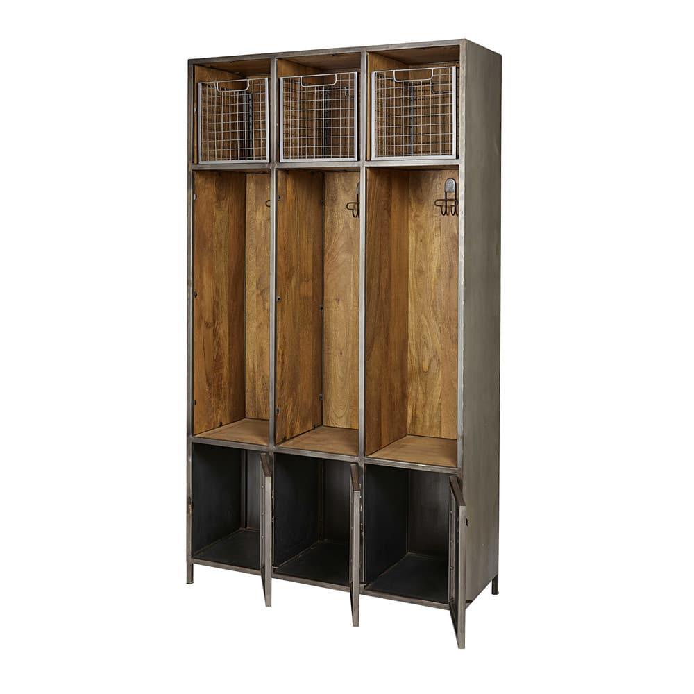 Mobile da ingresso a 3 ante grigio in metallo e legno massello di ...