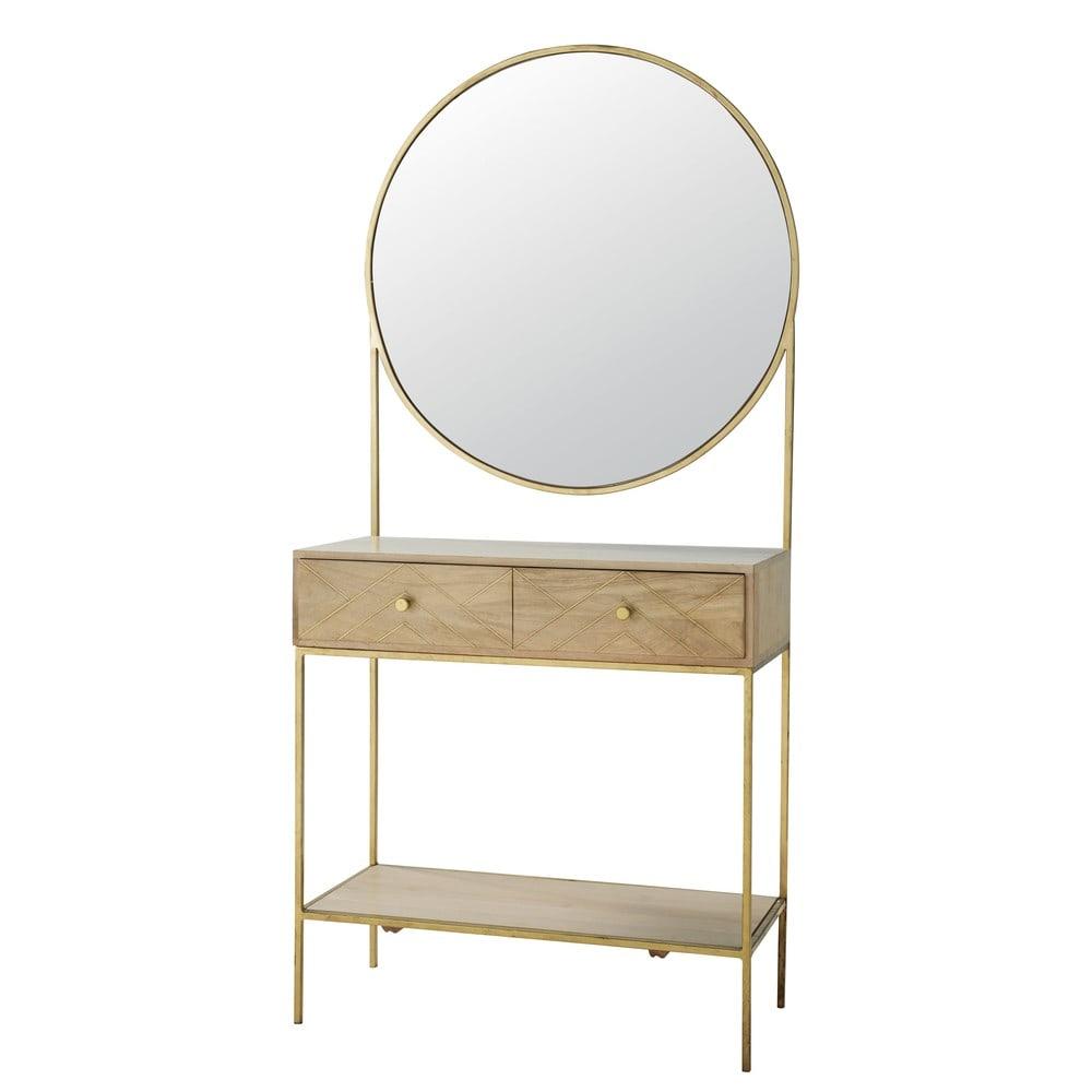 Mobile da ingresso con specchio in legno massello di mango Stella ...