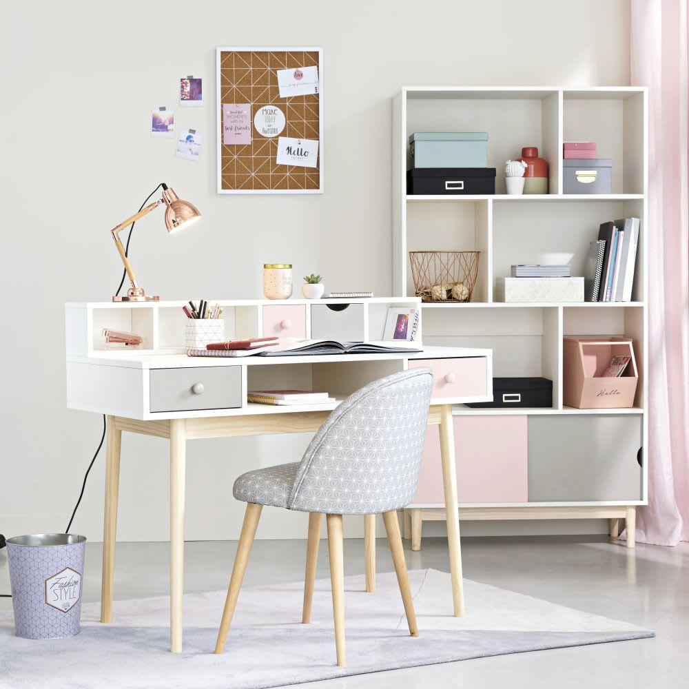 module de rangement pour bureau 2 tiroirs rose et gris. Black Bedroom Furniture Sets. Home Design Ideas