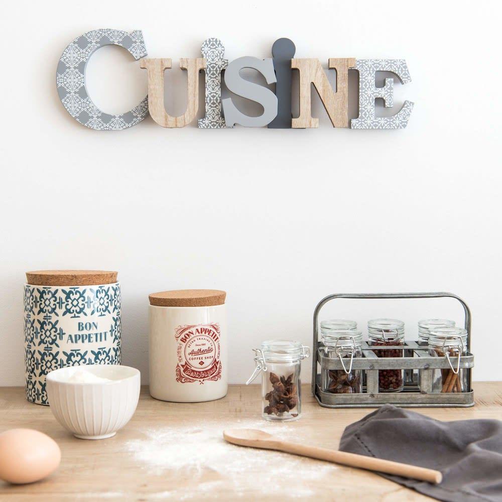 mot d co murale motifs 44x13 cuisine maisons du monde. Black Bedroom Furniture Sets. Home Design Ideas